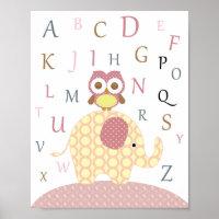 Nursery owl alphabet art poster