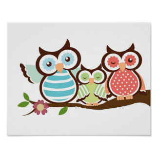 Nursery owl art poster baby with mum dad