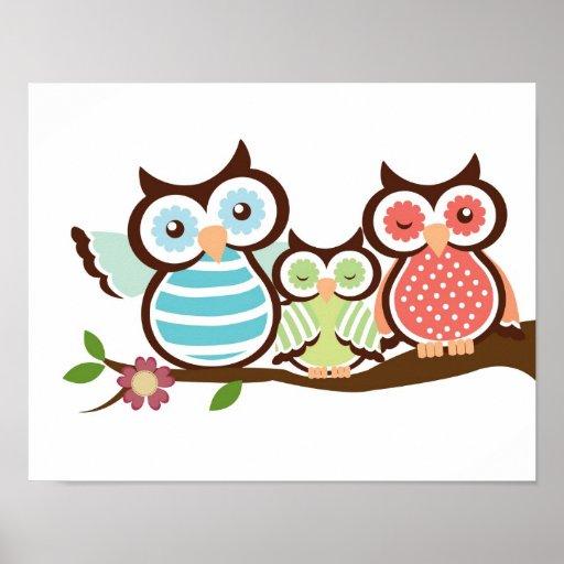 Nursery owl art poster baby with mum dad