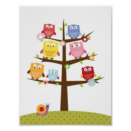 Nursery owls on a tree wall art