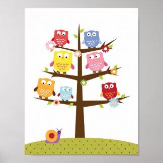 Nursery owls on a tree wall art poster