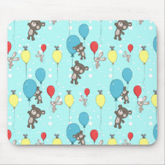 Nursery pattern with teddy and bunny mouse pad