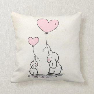 Elephants and Heart Balloons Cushion