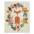 nursery poster monogram fox