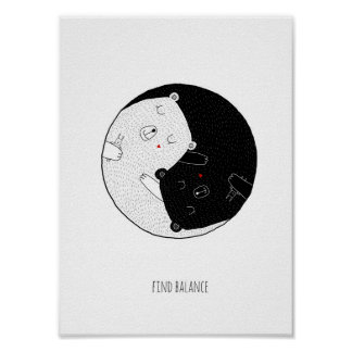 Nursery Print, Find Balance, Yin and Yang Poster
