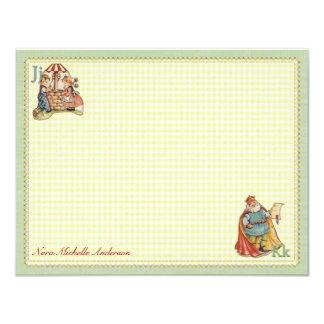 Nursery Rhyme Personalized Flat Note Cards 11 Cm X 14 Cm Invitation Card
