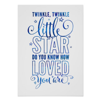 NURSERY RHYME twinkle, twinkle little star blue Poster