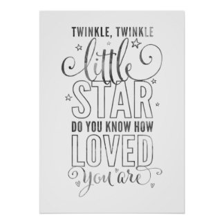NURSERY RHYME twinkle, twinkle little star grey Poster