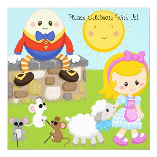 Nursery Rhymes Customized Birthday Invitations