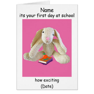 Nursery school first day greeting card rabbit book