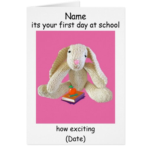 Nursery school first day greeting card rabbit book