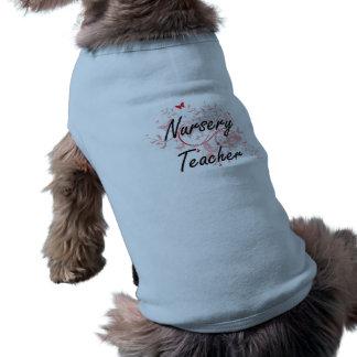 Nursery Teacher Artistic Job Design with Butterfli Sleeveless Dog Shirt