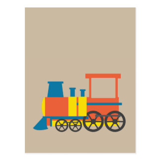 Nursery Train locomotive vibrant fun colorful art Postcard