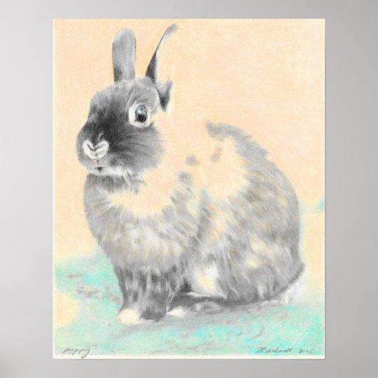 Nursery wall art, bunny original art poster
