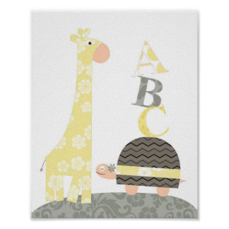 Nursery wall art(giraffe turtle alphabets) poster