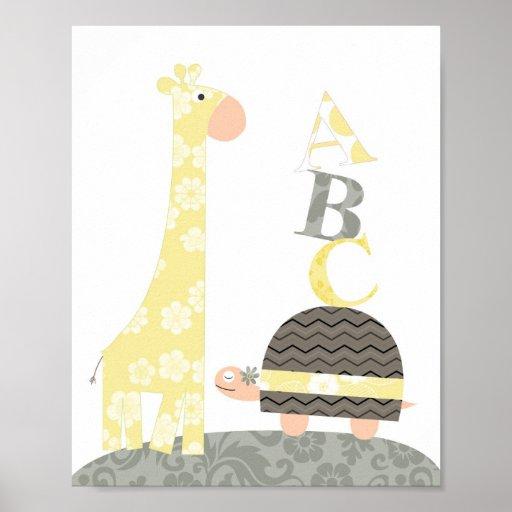 Nursery wall art(giraffe turtle alphabets) posters