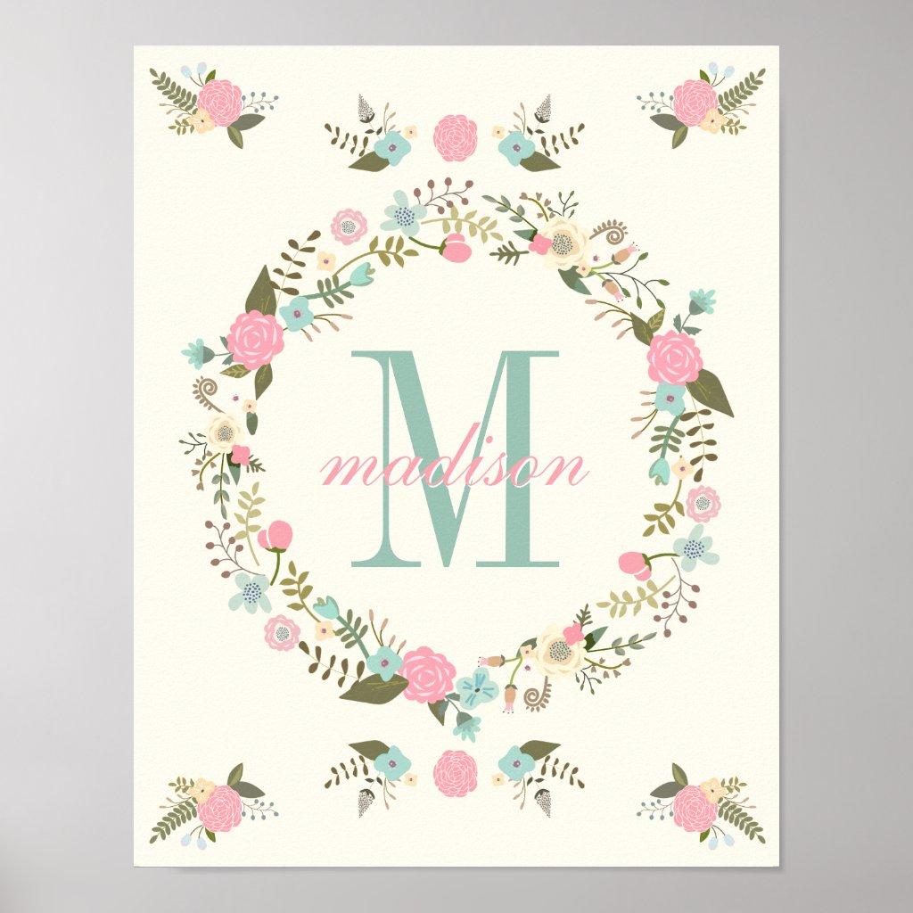 Monogram nursery poster