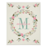 Nursery wall art print Monogram nursery poster