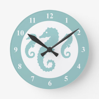 Nursery wall clock with seahorses | sealife animal