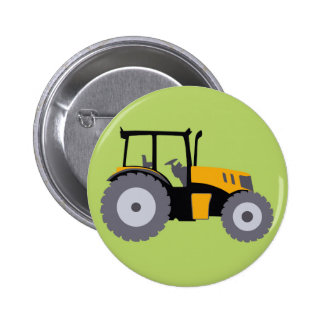 Nursery yellow tractor illustration dump truck 6 cm round badge