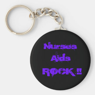 Nurses Aids Rock 2 Basic Round Button Key Ring