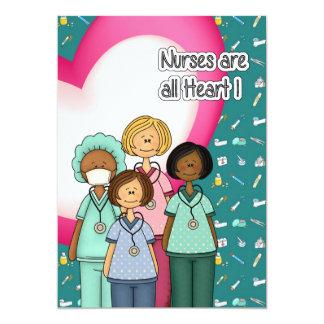 Nurses are All Heart. Custom Flat Cards 13 Cm X 18 Cm Invitation Card