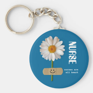 Nurses are all Heart Smiling Daisy Gift Keychain