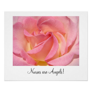 Nurses are Angels! art prints Pink Rose Flower Poster