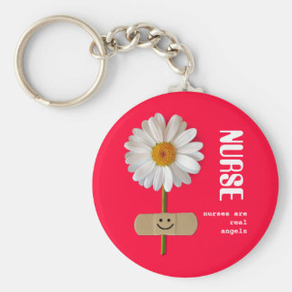 Nurses are Real Angels Smiling Daisy Keychain
