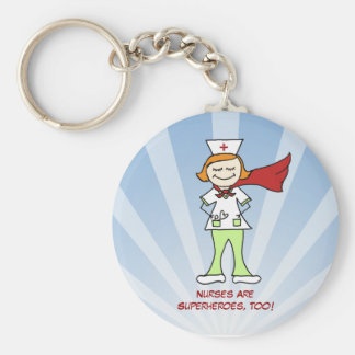Nurses Are Superheroes Basic Round Button Key Ring