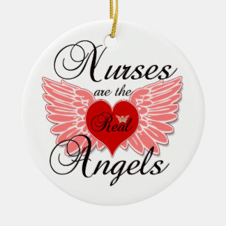 Nurses Are The Real Angles Christmas Ornament