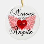 Nurses Are The Real Angles Round Ceramic Decoration