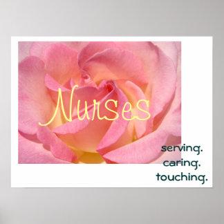 Nurses art prints Serving Caring Touching Nurse Posters