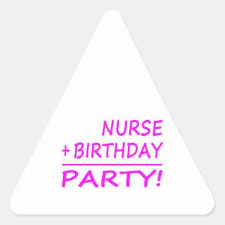 Nurses Birthdays Nurse + Birthday Party Triangle Stickers