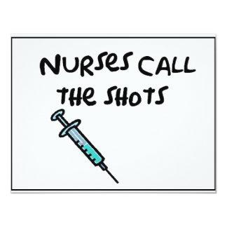 Nurses call the shots 4.25x5.5 paper invitation card