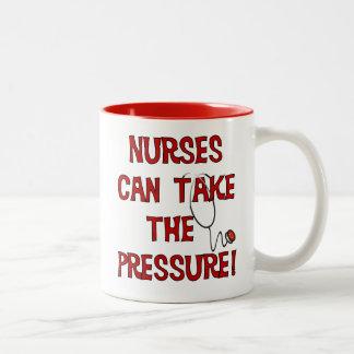 Nurses Can Take the Pressure Two-Tone Mug