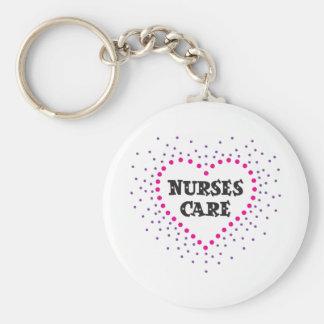 nurses care basic round button key ring