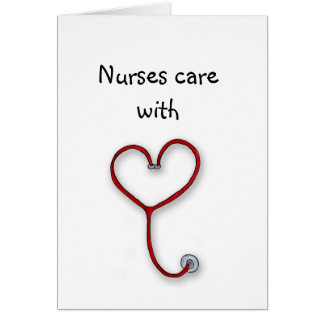 Nurses care with Heart - Nurses Gift - Personalize Greeting Card