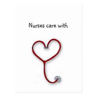 Nurses care with Heart - Nurses Gift - Personalize Postcard