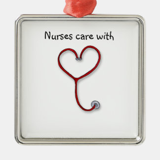 Nurses care with Heart - Nurses Gift - Personalize Silver-Colored Square Decoration