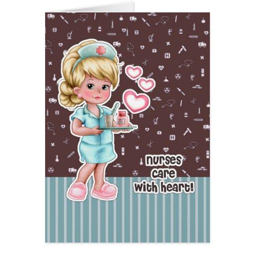 Nurses care with heart. Nurses Week Greeting Cards