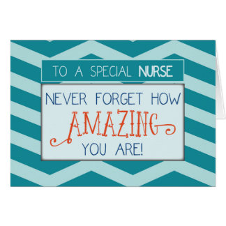 Nurses Day, Amazing with Teal Chevron Stripes Card