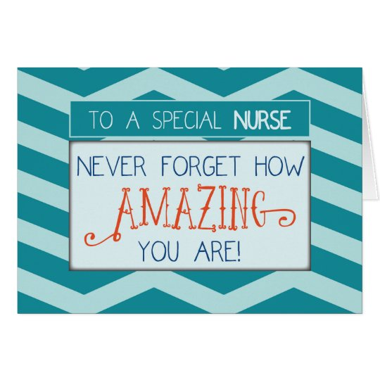 Nurses Day, Amazing with Teal Chevron Stripes Card