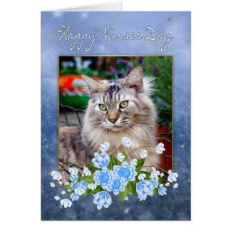 Nurse's Day Card, Maine Coon Cat, Cat Nurse's Day Greeting Card