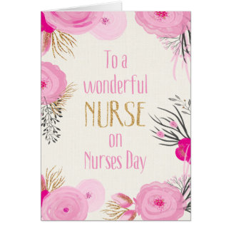 Nurses Day - Pretty Pink Flowers and Gold Sparkle Card