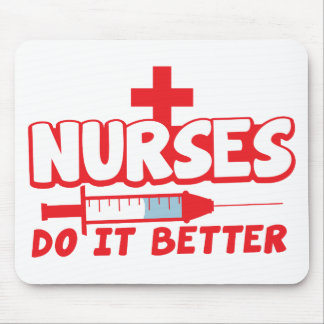 NURSES do it better! with needle and cross Mouse Pad