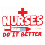 NURSES do it better! with needle and cross Post Cards