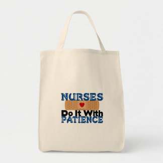 Nurses Do It With Patience Grocery Tote Bag