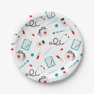 Nurses equipment pattern party paper plate 7 inch paper plate