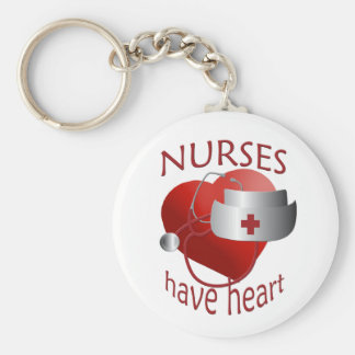 Nurses Have Heart Nurse Button Keychain